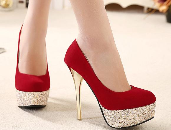2015-Fashion-Woman-Pumps-Sexy-High-Heels-Platform-Shoes-Flock-Red-Sequins-Gold-Heel-Wedding-Black